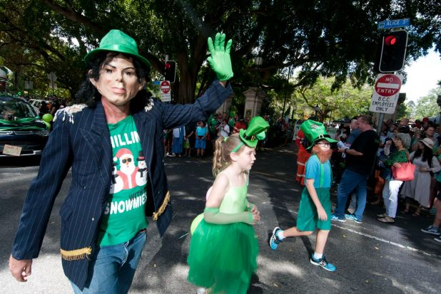 More than 1000 joined the parade and green hats were a popular choice.