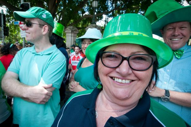 Beaming smiles and green headgear was the order of the day.