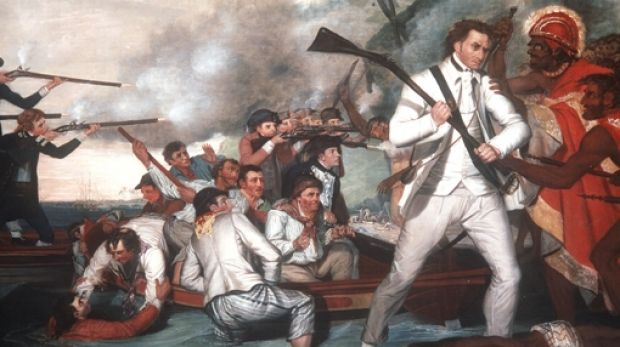 George Carter's painting, <i>Death of Captain Cook</i>.