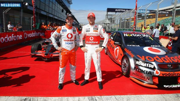 Uneasy alliance: V8s have long featured at the Melbourne Grand Prix, like here with Jenson Button and Jamie Whincup in ...