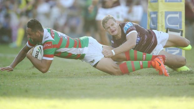 John Sutton goes in to score after some great linkup play from Cody Walker and Robbie Farah.