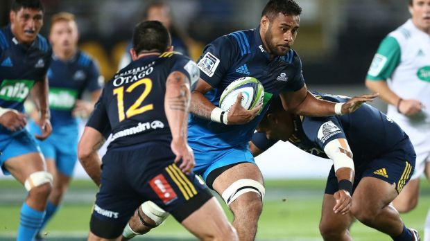 On the burst: Patrick Tuipulotu of the Blues.