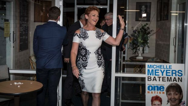 Pauline Hanson during her live crosses at the Melvilee Bowling Club tonight after the Western Australian State election. ...