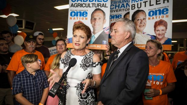 """One Nation leader Pauline Hanson declared the party's election result was """"fantastic"""", despite falling well short of ..."""