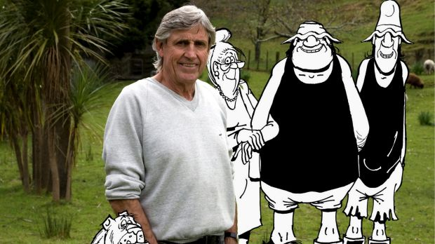 Footrot Flats cartoonist Murray Ball with some of his characters.