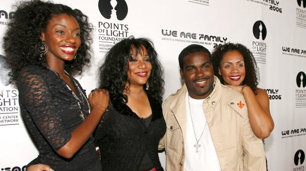 "Joni Sledge, one of the original members of ""Sister Sledge,"" second from left, with music producer Rodney Jerkins, her ..."