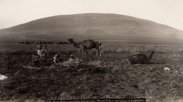 """A 19th-century photograph from Maison Bonfils depicting """"Mount Tabor and the Plain of Esdraelon"""" in a timeless, ..."""