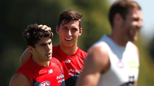 Demons Christian Petracca (left) and Sam Weideman.