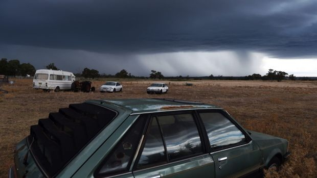 Storm clouds gather near Dunedoo on Monday.