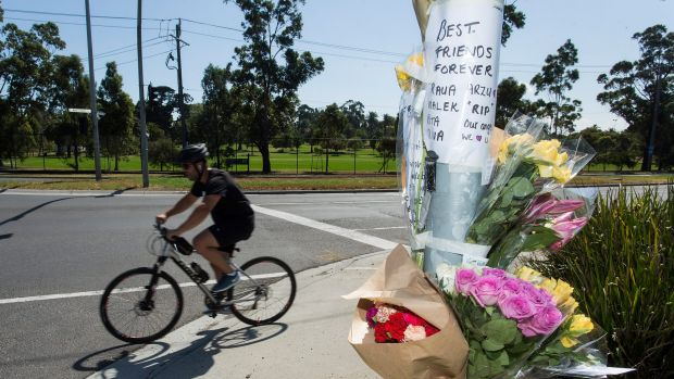 A tribute is on the corner of Whitehall Street and Somerville Road in Yarraville, where Arzu Baglar was killed.