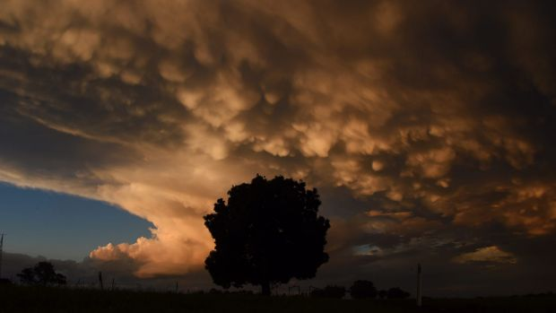 Coonabarabran treated to a spectacular display of mammatus cloud in sunset light after a day of severe storms across the ...