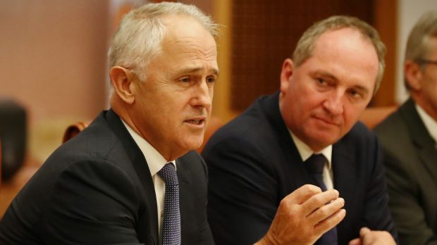 Prime Minister Malcolm Turnbull and Deputy Prime Minister Barnaby Joyce during a meeting of the government's Regional ...