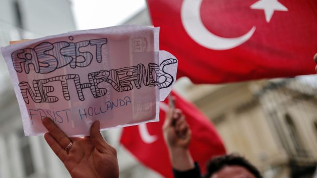 Turks protest outside the Dutch consulate in Istanbul earlier this month.
