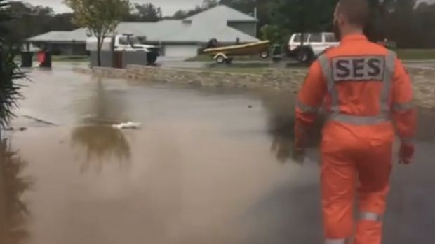 Water floods a property in Penrith, which has had its wettest March day in 20 years.