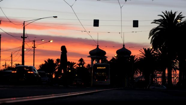 Warm welcome: Sunrise in St Kilda on Wednesday morning.