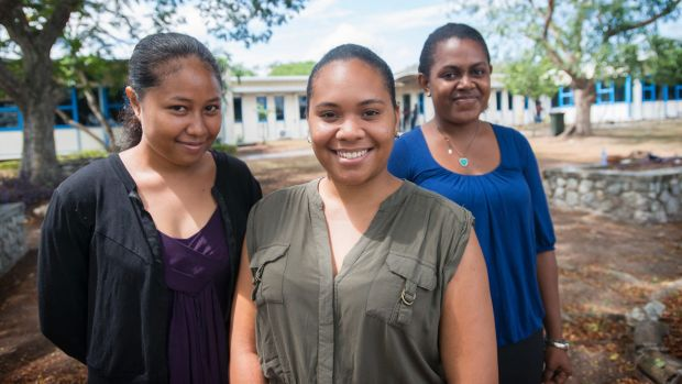 Business and economics students Johnetta Lili, Annemary Serat and Jollanda Methew at the University of Papua New Guinea.