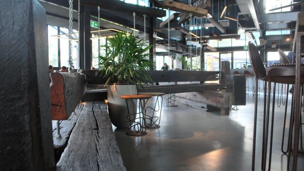Wooden installations at Ku De Ta Perth include reclaimed wood from WA's 129-year-old Bunbury Jetty.