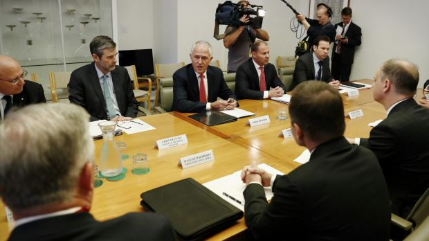 Prime Minister Malcolm Turnbull and Minister for Environment and Energy Josh Frydenberg meet representatives of the gas ...
