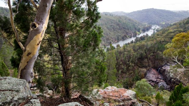 View from the lower falls where the Ginninderra Creek meets the Murrumbidgee River.