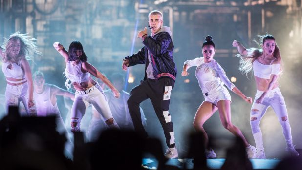 Brings a show: Bieber on stage in Sydney.