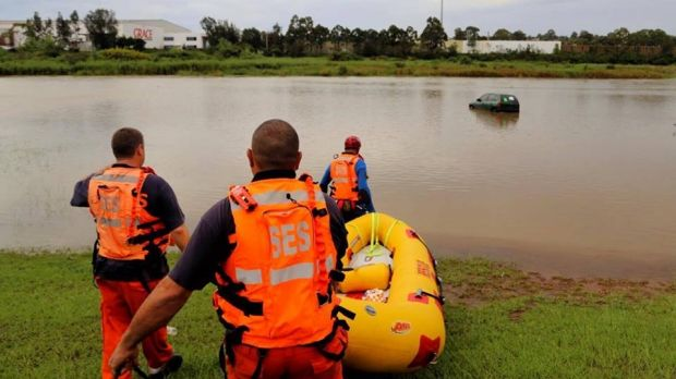 The NSW SES Parramatta unit retrieved an abandoned car from flood waters on Tuesday.