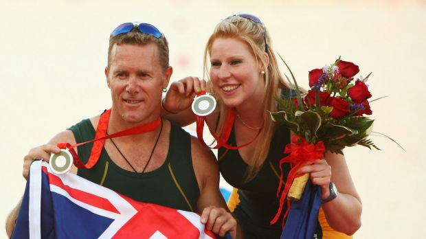 John Maclean and Kathryn Ross after winning silver in the rowing mixed double sculls at the 2008 Paralympic Games in Beijing.