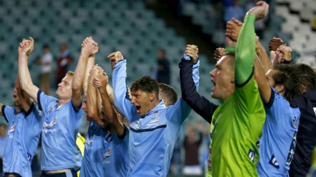 Sydney FC celebrate with the crowd after winning the round 22 match against Melbourne Victory at Allianz Stadium.