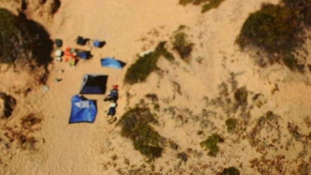 An aerial view of the camp site, tendered as evidence in court.