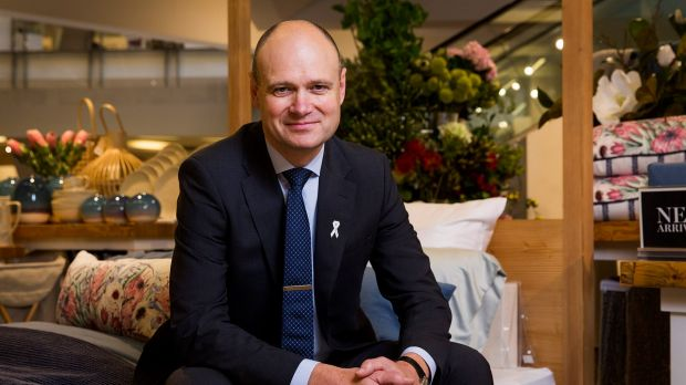 Myer chief Richard Umbers said online sales of homewares jumped by 65 per cent in the first half.
