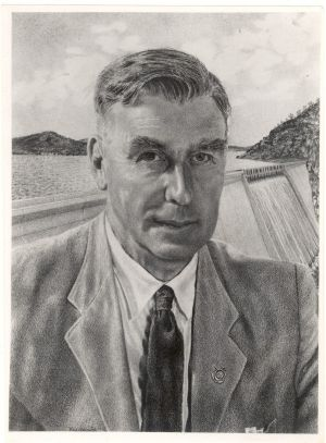 A Sydney Morning Herald drawing showing Sir William Hudson in front of one of the Snowy Mountains Scheme dams.