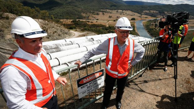 Prime Minister Malcolm Turnbull with Snowy Hydro CEO Paul Broad during his tour of the Snowy Hydro Tumut 3 power station ...