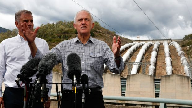 Snowy Hydro CEO Paul Broad and Prime Minister Malcolm Turnbull at Snowy Hydro Tumut 3 power station in Talbingo, NSW, ...