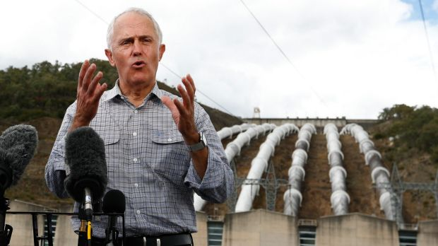 The Prime Minister addresses the media at the Snowy Hydro's Tumut 3 power station.