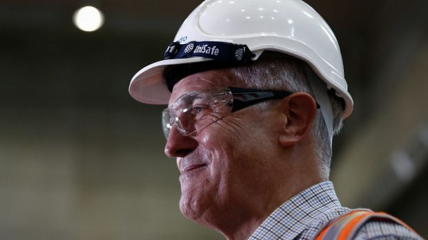 Prime Minister Malcolm Turnbull during a tour of the Snowy Hydro Tumut 3 power station in Talbingo on Thursday.