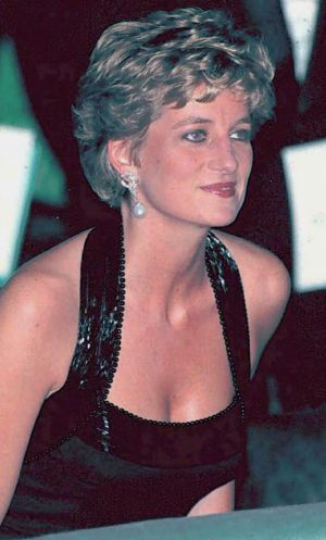 Diana, Princess of Wales in a Catherine Walker gown at a concert at the Palace of Versailles in 1994.