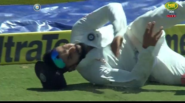Virat Kohli hurt his shoulder in a fielding mishap.
