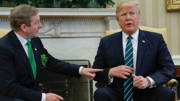 US President Donald Trump meets with Irish Prime Minister Enda Kenny in the White House.