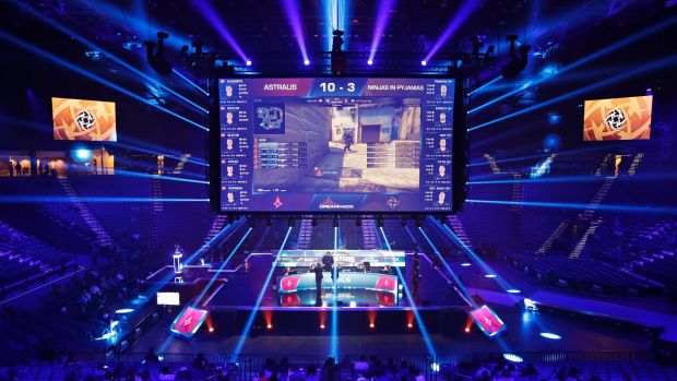 eSports is sometimes played in stadiums. Here, teams compete against each other playing 'Counter-Strike: Global ...