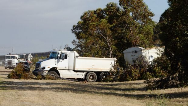 A scene from the fatal collision on Calder Freeway at Taylors Lakes on Thursday.