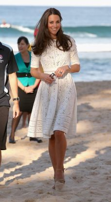Catherine, Duchess of Cambridge walks on the sand at a lifesaving event on Manly Beach on April 18, 2014 in Sydney, ...