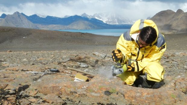 University of Canberra associate professor and geologist Duanne White at work on South Georgia in March 2013.