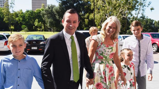 WA Premier-elect Mark McGowan arrives at the state's swearing in ceremony with his family.