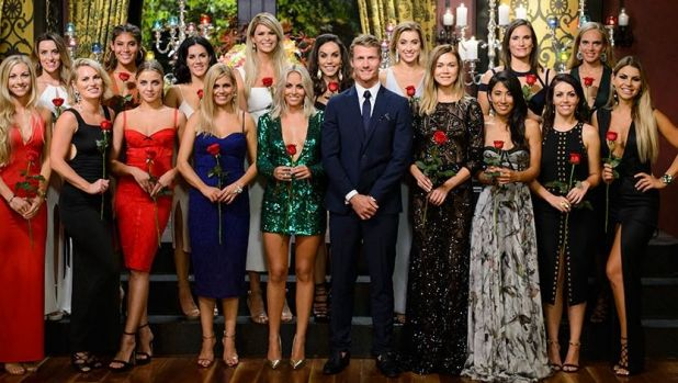 Last year's <i>The Bachelor</i> Richie Strahan with contestants, including Keira Maguire (in the front, second from left).