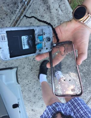 The Samsung Galaxy S4, after it exploded.