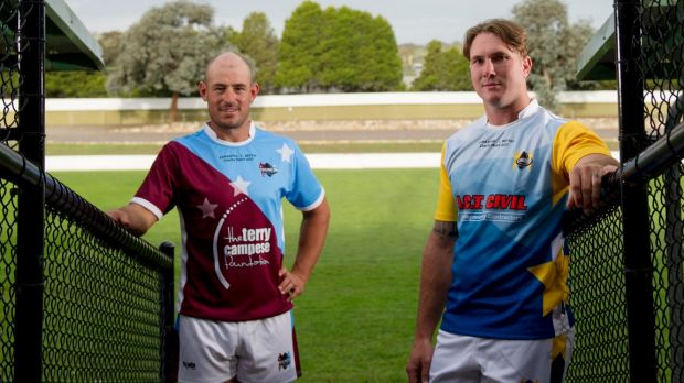 Queanbeyan Kangaroos captain Brent Crisp, right, and former Raiders captain Terry Campese are organising a charity game ...