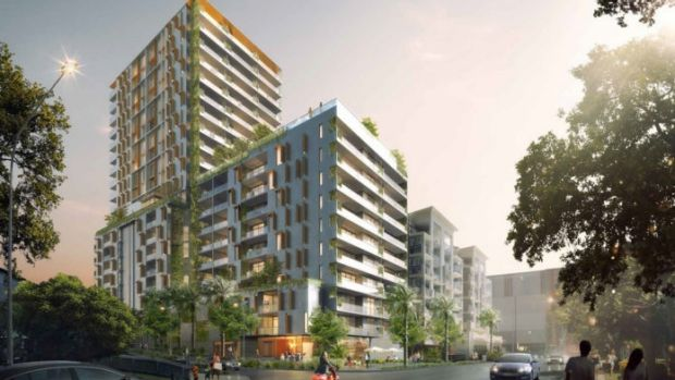An artist's impression of the residential towers to be built next to Indooroopilly Shopping Centre.