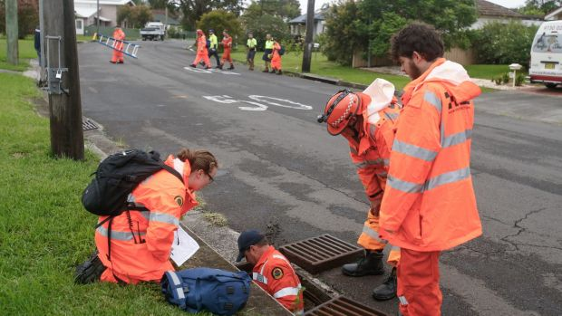 SES crews searched drain networks for 11-year-old Ryan Teasdale after he went missing in flood waters in Unanderra.