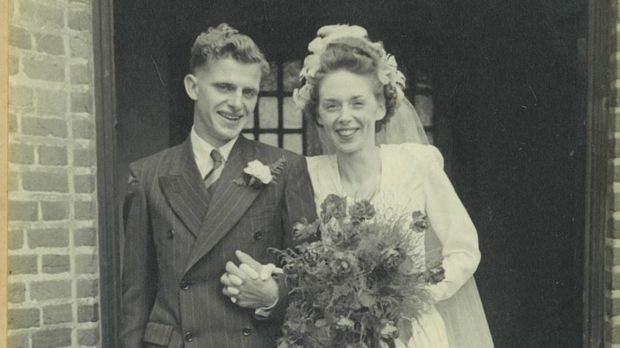 James Bradley and Peggie when they married in July 1947.