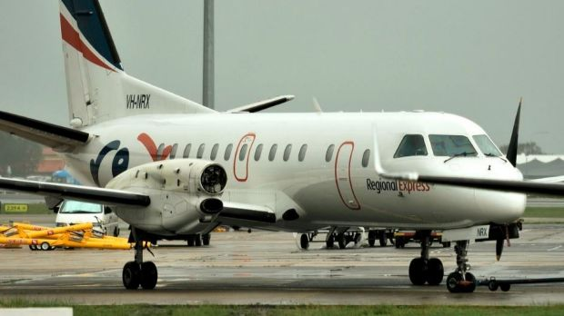 A propeller sheared off the Regional Express Saab 340 in mid-air on Friday.