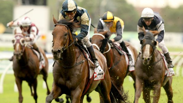 Wet-weather specialist: Kerrin McEvoy rides Our Ivanhowe to win the Ranvet Stakes.